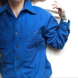 Golden Line Shirts - Vintage blue woolen button down shirt.
